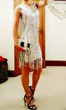 Womans Designer Argent RARE boutique Cocktail Maj Sequin SALSA DRESS 10