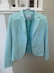 Calvin Klein Women's 2 Button Blazer Jacket Aqua Blue Teal Size 12 Excellent