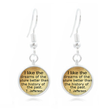 Thomas Jefferson glass Frea Earrings Art Photo Tibet silver Earring Jewelry #256