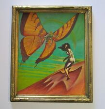 1970's VINTAGE PAINTING EXPRESSIONIST WOMAN NUDE SURREAL GIANT INSECT BUTTERFLY