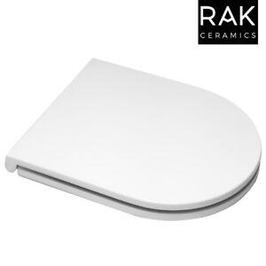 RAK Resort D Shape Mini Slimline Sandwich Toilet Seat Soft Close Top Bottom Fix
