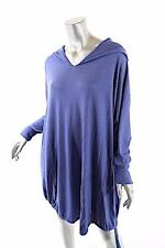PASHMERE Periwinkle Wool Blend Hooded Drawstring Tunic Sweater NWT M $745