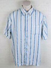SQ Wear Mens Button Front Shirt White Blue Stripe Polka Dots Size XL 1x
