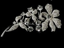 "4.25"" Vintage Look Diamante Rhinestone Crystal Flower Wedding Brooch Pin"