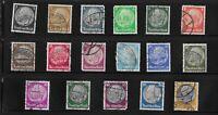 Stamp Type set / Third Reich era Germany / Hindenburg 1932-1936 17 stamp issues