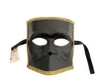 Máscara De Venecia Bauta Negro Carnaval Veneciano Auténtico 348