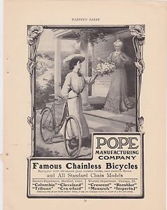 1890s/1900s VINTAGE MAGAZINE AD #B1-41 -  POPE MANUFACTURING BICYCLES