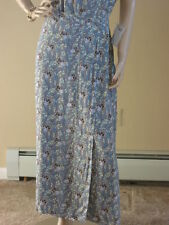 FLAX 04 Thinking Tropics BLUE SWEET PEA Rayon BUTTON WRAP Skirt S/M