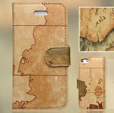 Luxus iPhone 5  Tasche Schutz Hülle  Case Cover Etui Weltkarte