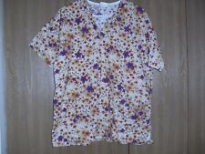 ladies size (M) peaches short sleeve multi-color floral scrub top