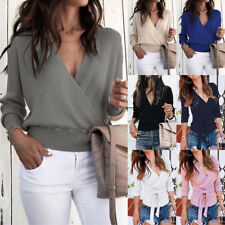 UK Womens V Neck Long Sleeve Sweater Ladies Ribbed Jumper Pullover Tops Blouse