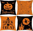 Happy Halloween Throw Pillow Covers 18 x 18 Set of 4 Decorative Farmhouse Spider