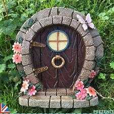 LARGE Fairy Door Elf Pixie Garden Ornament Hobbit Butterfly Flowers 39152