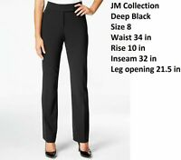 JM COLLECTION sz 8 BLAK STRAIGHT LEG COMFORT WAIST HIDDEN ELASTIC STRETCHY PANTS