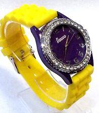 Team School Spirit Yellow Silicone Wrist Watch Purple Face Rhinestone Silver