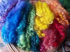 CHOOSE COLOR ALMOST SOLIDS wool locks 1 oz. separated dyed curls felting spin