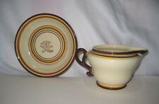 2 Pieces FRANCISCAN WARE CREAMER & UNDER PLATE BOWL BROWN & YELLOW STRIPES