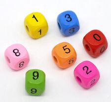 1000 Mixte Perles Bois Chiffre Cube Multicolore 10x9mm