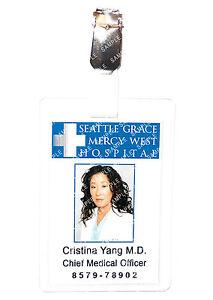 Greys Anatomy Cristina Yang Hospital Cosplay Prop Costume Comic Con Halloween