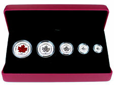 2015 Maple Leaf Fractional Silver Set 5 Incused Reverse Proofs $1,$2, $3, $4, $5