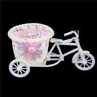 Romantic Tricycle Designed Rattan Flower Basket Vase Props Wedding Home Decor ES