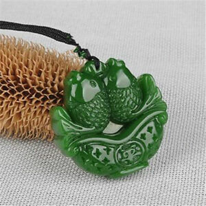 Pendant jade Necklace Pendant jewelry fish 年年有余鱼 Natural jade Green White