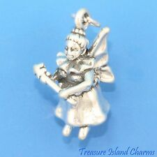 TOOTH FAIRY with WAND and WINGS 3D .925 Solid Sterling Silver Charm
