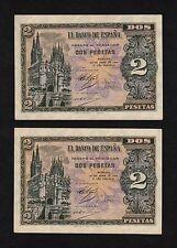 F.C. PAREJA CORRELATIVA 2 PESETAS ABRIL 1938 , SERIE F , S/C- , MARGENES SUCIOS