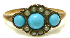 VICTORIAN 10K YELLOW GOLD PERSIAN TURQUOISE SEED PEARL WOMENS RING BAND SIZE 7