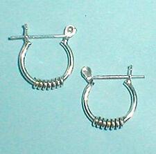 """Mens Men's Unisex Earrings Sterling Silver Bali Hoop Coil Design 1/2""""  pincatch"""