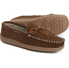 MINNETONKA Men's Tyson Trapper Suede Sherpa Moccasin Slippers Whiskey Brown