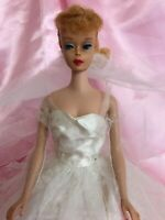 Stunning Vintage Blonde Ponytail Barbie Doll In Wedding Day Outfit