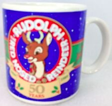 Rudolph the Red Nosed Reindeer Mug 1989 50 Years Blue by Applause