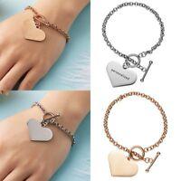 Stainless Steel Engraved Bracelet Custom Love Heart Letter Bangle Unisex Jewelry