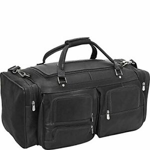 Piel Leather 24In Duffel with Pockets Black One Size