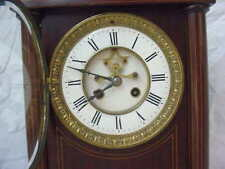 French Fancy Parlor Clock w/ String Inlay and Front Escapement Movement. c. 1890