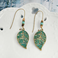 Retro Womens Elegant Bohemian Green Ear Hook Hollow Leaves Beaded Dangle Earring