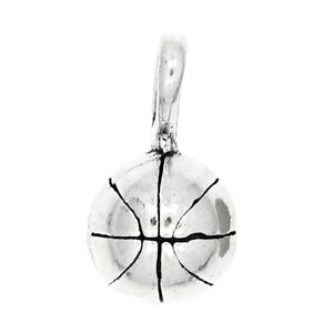 STERLING SILVER SMALL BASKETBALL CHARM/PENDANT