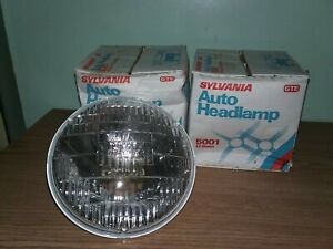 PAIR 5001 Incandescent Hi Beam Headlight ROUND 2-prong NOS Sylvania GTE USA