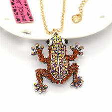 Retro Charm Brown Crystal Frog Rhinestone Pendant Betsey Johnson Chain Necklace