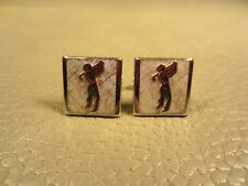 Vintage Golfer in Full Swing with Black Enamel White Gold Plated Cuff Links