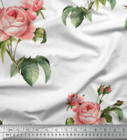 Soimoi Fabric Leaves & Rose Floral Print Sewing Fabric BTY - FL-1053K