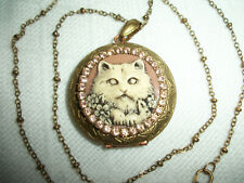 HANDCRAFTED CAT PICTURE LOCKET ANTQ.GOLD BRASS PENDANT NECKLACE WITH BRONZ CHAIN