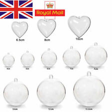 5-100Pc Clear Balls Baubles Sphere Fillable Xmas Christmas Tree Ornament Gift UK