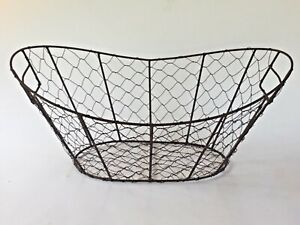 Egg Gathering Basket Farmhouse Country Style Chicken Wire Handles LARGE!