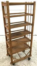 Tilted-shelf Rolling Wood Rack Lot 2191