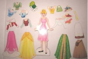 """Disney Princess 19pc wooden magnetic dress up doll 10"""" tall"""
