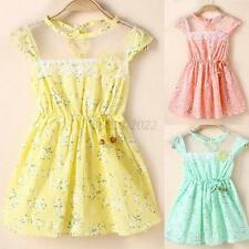 5 Sizes Lovely Baby Kid Girl Lace Floral Princess Dress Party Summer Dresses B69