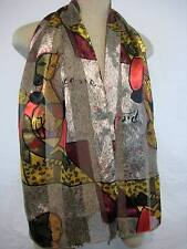 Oblong Picasso Print Neck Scarf Polyester 13 1/2 X 60 inches Red Gold Grey Black