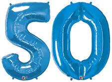 "50th BIRTHDAY BALLOON 34"" HIGH SAPPHIRE BLUE QUALATEX FOIL NUMBER 50 BALLOONS"